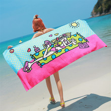 Summer Microfiber Fabric High Water Absorption Beach Towel  Printed Quick-Dry Bath Towels 150 x 70 CM Swimming Sunbath