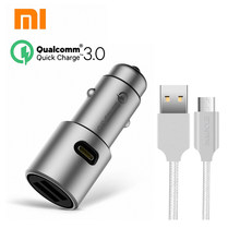 Original Xiaomi QC3.0 car charger xiaomi 5V/3A dual USB Quick charger 9V/2A 12V/1.5A MI quick car charger + 2A Magcle cable(China)