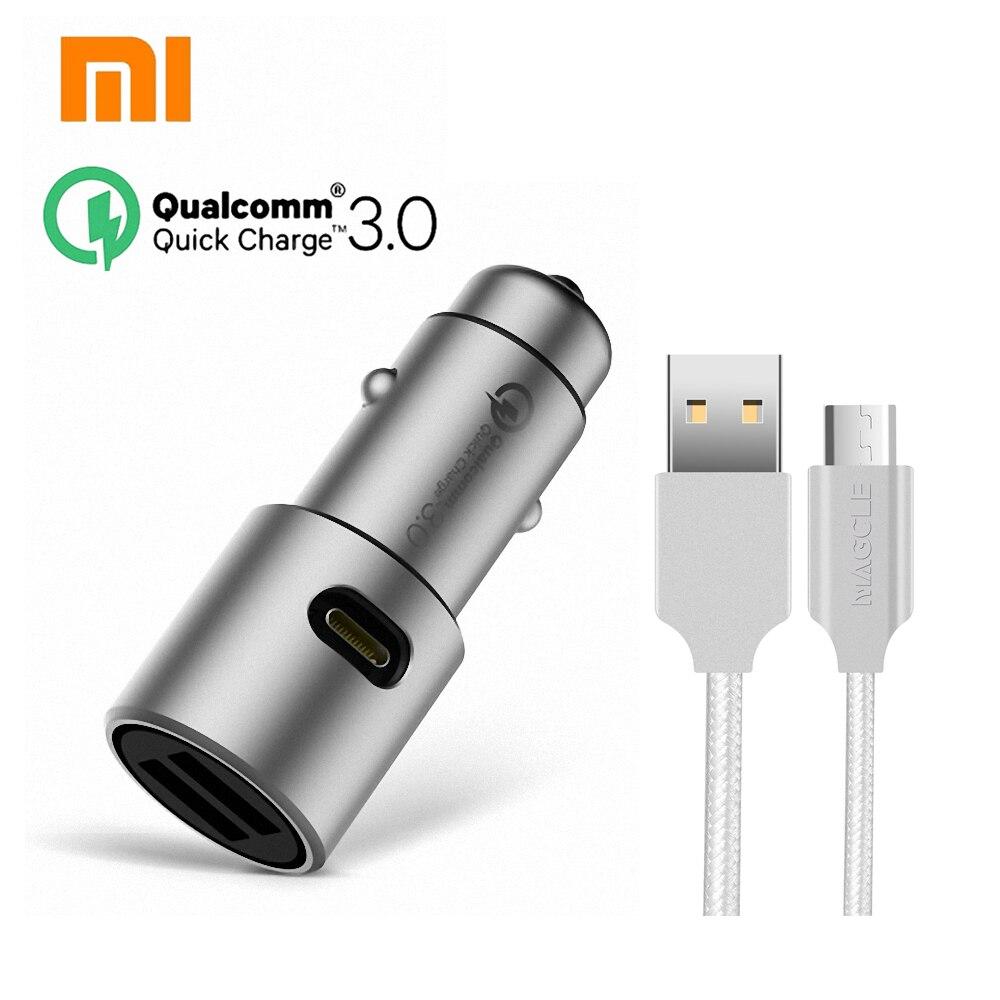 Original Xiaomi QC3.0 auto ladegerät xiaomi 5 V/3A dual USB Quick ladegerät 9 V/2A 12 V/1.5A MI schnell auto ladegerät + 2A Magcle kabel