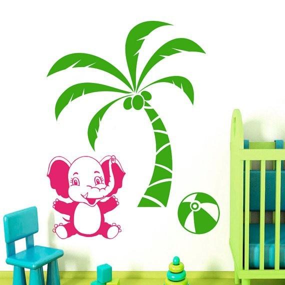 Stickers Muraux Vinyle Autocollant Bébé Éléphant Palm Tree Jungle Animaux  Decal Fille Garçon Chambre Enfants Nurseries