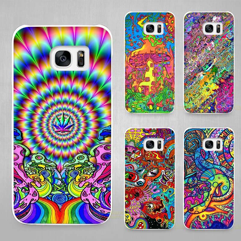 Psychédélique fleurs Dur Blanc Coque Shell Case Couverture Téléphone Cas  pour Samsung Galaxy S4 S5 S6 S7 Edge Plus 9ce467b82870