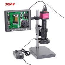 """30MP 1080P 60FPS HDMI USB cyfrowa przemysłowa kamera z mikroskopem wideo 180X C MOUNT obiektyw 8 """"ekran LCD do telefonu PCB lutowanie"""