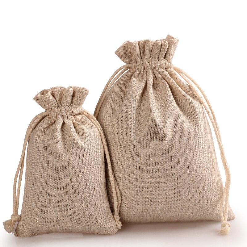 Aliexpress.com : Buy Plain cotton linen bag fabric drawstring ...