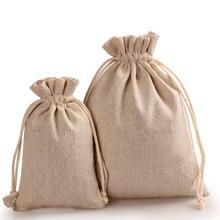 Обычный хлопок льняной мешок ткани шнурок мешок пустой ручная роспись поощрительный подарок мешок собственный логотип принимаются бесплатная доставка