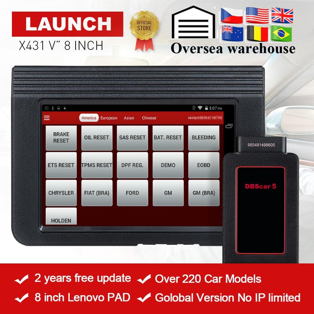 LANCEMENT X431 V 8'inch Mondial Version Complète Du Système De Diagnostic-Outil X-431 V Bluetooth/Wifi OBD2 outil d'analyse utilisé dans 200 + pays