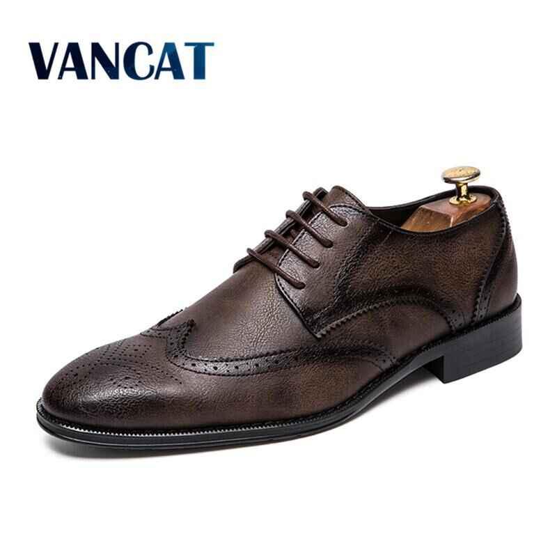 Vancat Marka Lüks Deri Lace Up erkek erkek resmi ayakkabı Sivri sivri uçlu ayakkabı Moda Bullock Ayakkabı Oxford Ayakkabı Boyutu 38-47