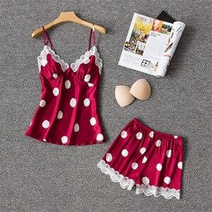 Image 1 - Daeyard משי פיג מה נשים סקסי הלבשה תחתונה Cami ומכנסיים קצרים עם תחרה לקצץ Pyjama Femme מנוקדת פיג מה הלבשת בגדי בית