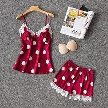 Daeyard ipek Pijama kadınlar için seksi iç çamaşırı Cami ve şort dantel Trim Pijama Femme Polka Dot Pijama Pijama ev giysi