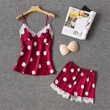 Женская шелковая пижама Daeyard, пикантная пижама в горошек с кружевной отделкой и шортами, домашняя одежда для сна