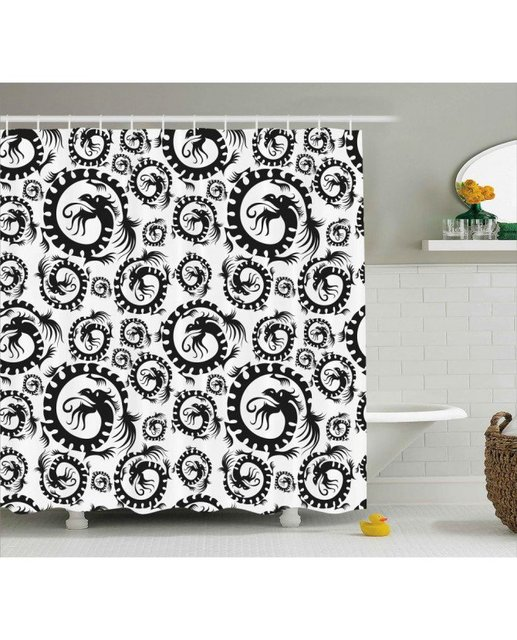 Vintage Shower Curtain Antique Chinese Dragon Print For Bathroom Waterproof And Mildew Resistant Set Hooks