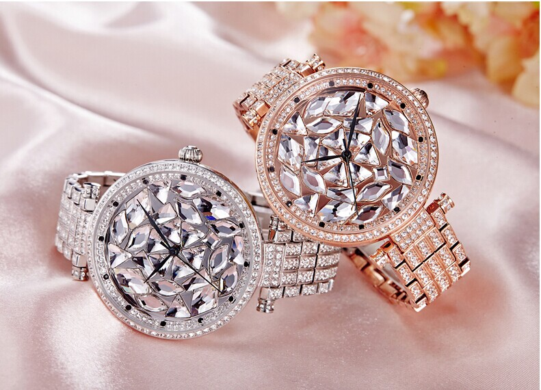 European Fashion Big Size Women Full Steel Bracelet Watches Sparkly Crystals Dress Wrist watch Japan Quartz Analog Relojes WA014