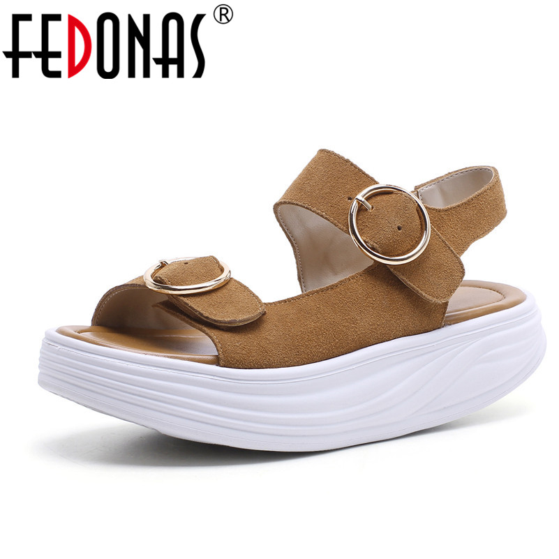 FEDONAS Summer Women Sandals Flats Heel Peep Toe Platforms Shoes Woman Ankle Strap Female Cow Suede Comfortable Casual Shoes fedonas women sandals soft genuine leather summer shoes woman platforms wedges heels comfort casual sandals female shoes