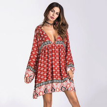 Boho Floral Printed Sexy V Neck Beach Dress For Autumn Spring Women Ladies Back Hollow Long Sleeve Loose Vintage Cover Up Female