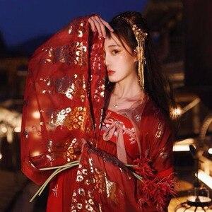 Image 4 - Hanfu elbise çin tarzı kadın/kadınlar kırmızı zarif Hanfu çin antik ve geleneksel giysiler halk dans kostümleri DQL350