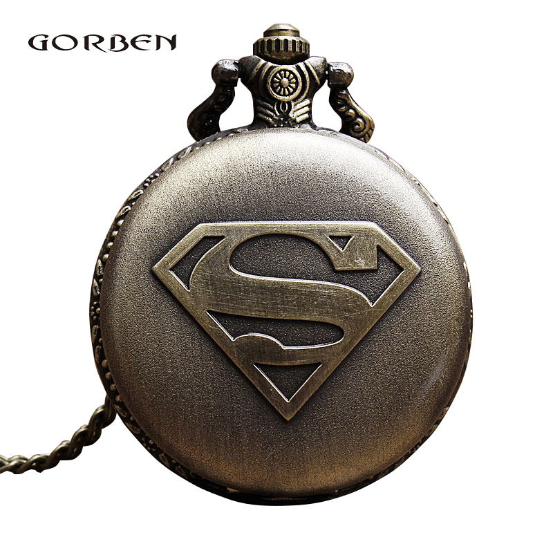 Vintage Bronze Pocket Watch 2020 Super Hero Men Necklace Chain Pendent Retro Bronze Quartz Pocket Watches Gifts Relogio De Bolso