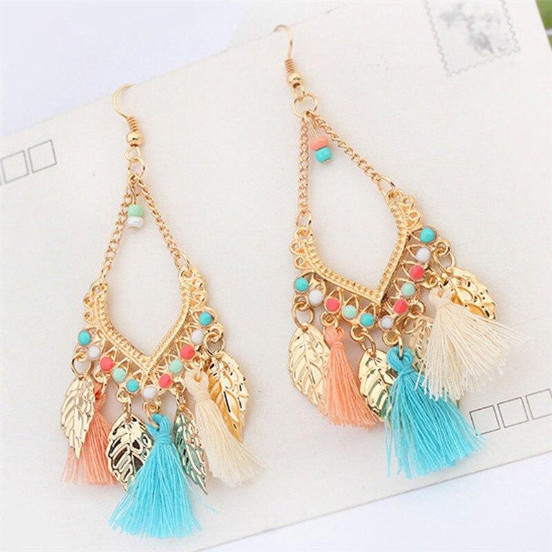 Retro Earrings Leaves Tassel Pendants Earrings For Woman Bohemian Jewelery 2018 Fashion Boho Women Drop Earrings