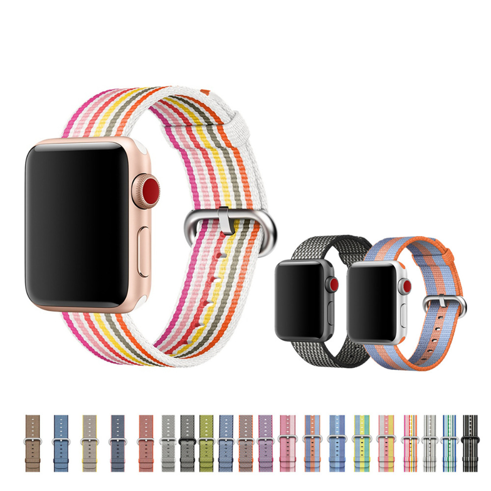 Woven Nylon strap For apple watch band 42mm 38mm iWatch 3 2 1 band bracelet nylon watchband fabric-like wrist belt+metal buckle