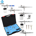 OPHIR 6PCS Airbrush Kit Set 0.35MM Dual Action Air Brush Spray Gun for Nail Art Body Paint Model Hobby Cake Decorating_AC048