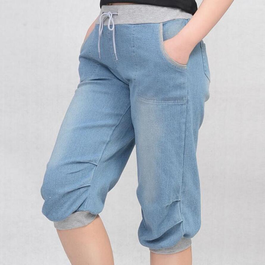 4XL plus size frauen pluderhosen jeans lose hosen für frauen denim - Damenbekleidung - Foto 1