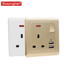 Bcsongben UK standard wall power socket Double usb British Switch control  2.1A Wall Charger Adapter Plug Socket