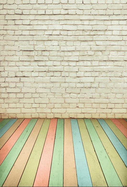 {All sizes} wood floor and white bricks photography backdrops background photo studio wallpaper decoration backdrop D-9638