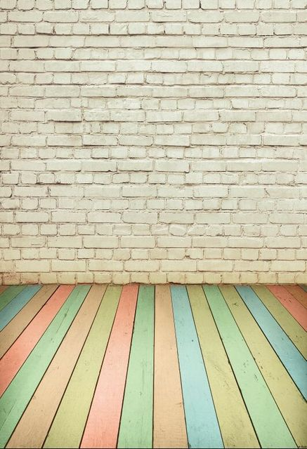 All Sizes Wood Floor And White Bricks Photography Backdrops