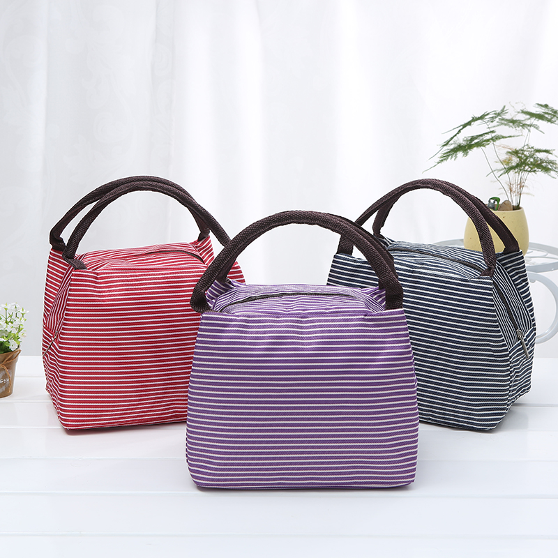 Fashion Stripe Insulation Thick Aluminum Foil Lunch Bag Student Portable Waterproof Picnic Storage bags
