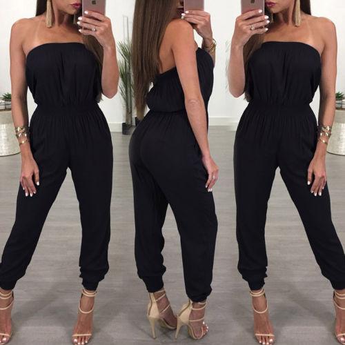 Women Jumpsuit Strapless black solid spandex Off shoulder summer womens jumpsuit Bodycon Party backless female jumpsuit