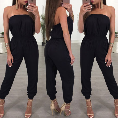 Women   Jumpsuit   Strapless black solid spandex Off shoulder summer womens   jumpsuit   Bodycon Party backless female   jumpsuit