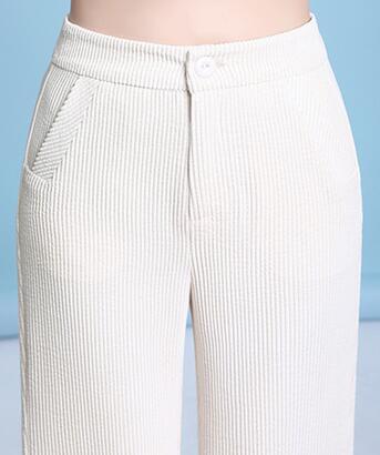 Capris Moda Alta Mujeres Nueva Pantalones Otoño Dyq0902 Tamaño Delgada Mujer Negro Blanco Beige verde Marrón De Verde negro Cintura Pana Plus marrón Militar Para Primavera EqO0qn5xwt