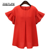 Womens Summer Fashion Dress 2018 New Style Female Ruffles Frill Sleeve Front Pintuck Ladies Loose Mini Dresses Plus Size 4XL 5XL