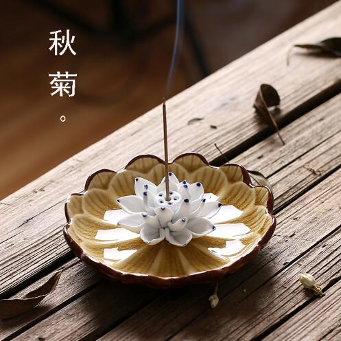 Jingdezhen Céramique Lotus Brûleur D'encens Titulaire Bâton D'encens Encens Encensoir Ménage Arôme Bâtons Disque Aromathérapie Décoration