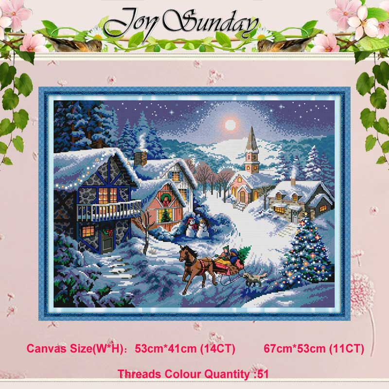 Dusk In The Snow Painting Counted 11CT 14CT Cross Stitch Set Wholesale DIY Cross-stitch Kit Embroidery Needlework Home Decor