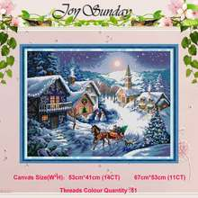 Dusk in the snow painting counted 11CT 14CT Cross Stitch Set Wholesale DIY Cross-stitch Kit Embroidery Needlework Home Decor(China)