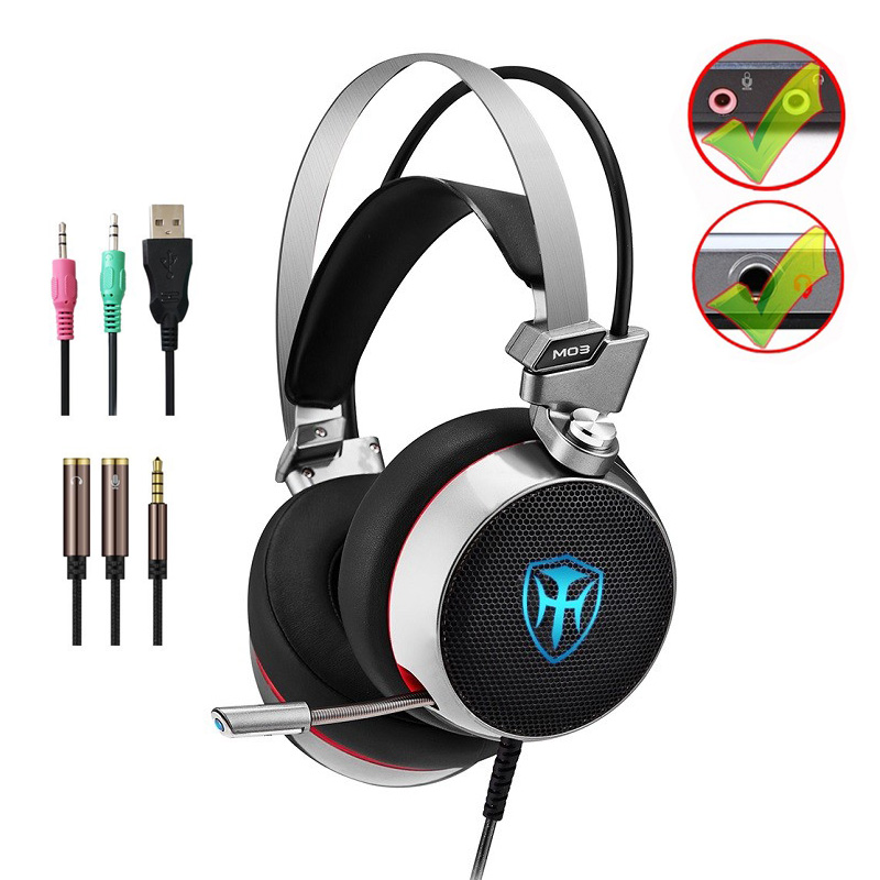 Best PC Gaming Headset 3D Stereo Headphones With Splitter Adapter Adjustable Microphone LED For Laptop PS4 PC XBOX Mobile Phone oneodio professional studio headphones dj stereo headphones studio monitor gaming headset 3 5mm 6 3mm cable for xiaomi phones pc
