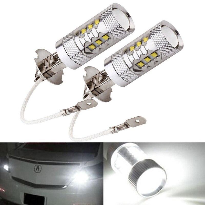 2pcs H3 80W CREE Super Bright LED White Fog Tail Turn DRL Head Light Lamp Bulb --M25