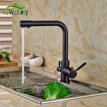 Чистая Вода Кран Масло Втирают Broze Кухонный Кран Двойной Ручки Поворотным Изливом Кран Палуба Гора