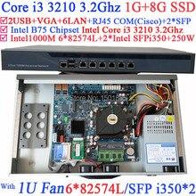 Офис Маршрутизатор Брандмауэра Сервера с 6 Гигабитные сетевые контроллеры 2 * Intel Core i3 3210 3.2 Ггц 1 Г RAM 8 Г SSD