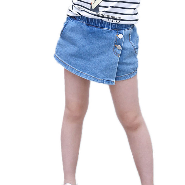 88a128ce4b 2018 Chilldren Denim Skirts Cotton Blue kid Jeans Shorts for Teenage Girls  Solid Color Button Fashion Skirt Pants Summer Clothes