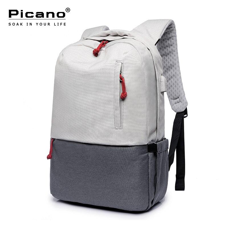 Picano Waterdichte Rugzak USB Opladen School Notebook Backbags Mannen Vrouwen Minimalistische Luchtkussen Toeristische Laptop Rugzak PCN038-in Rugzakken van Bagage & Tassen op  Groep 1