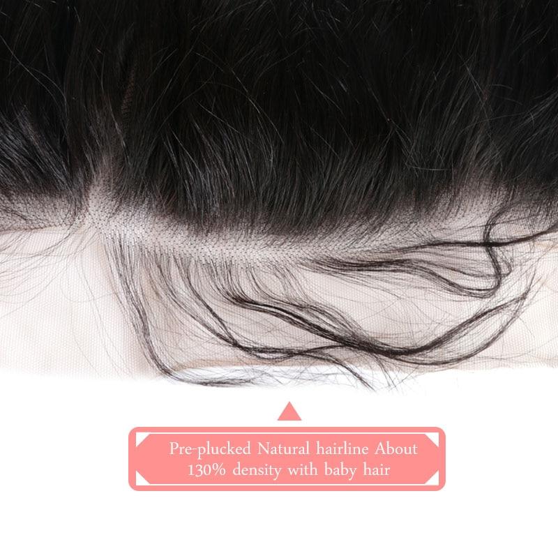 Ali Queen Hair 13x6 Lace Frontal Closure Brasilian Straight Virgin - Mänskligt hår (svart) - Foto 4