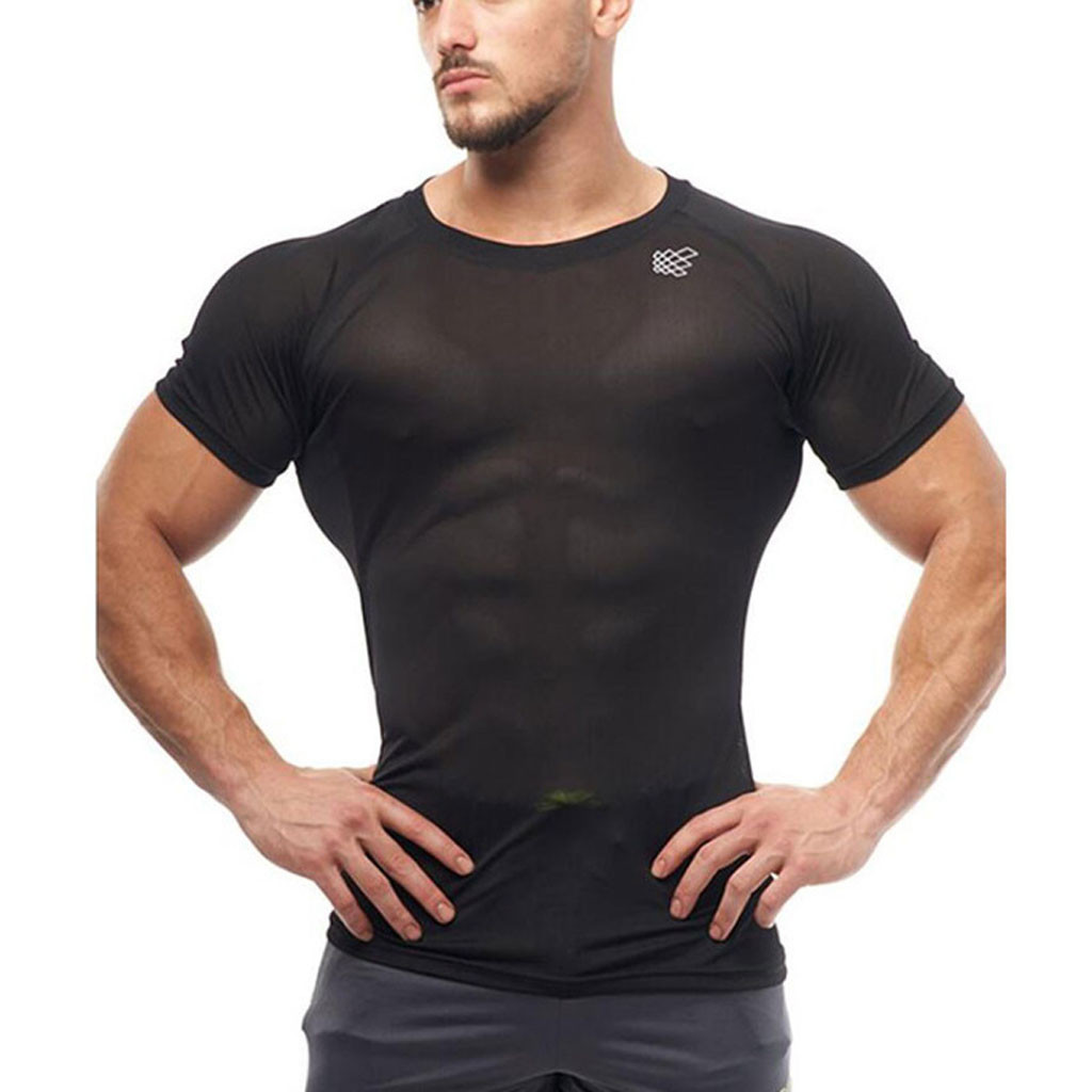 New Men's Smooth Slim Sport T-shirt Fitness Muscle Stretch Soft Tee Tops Clothes Breathable O-neck Solid Color Short Sleeve