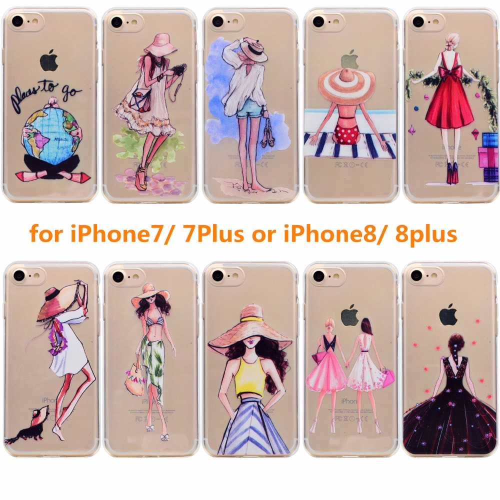 For iPhone7 iphone8 iphone7plus iphone 8plus case Luxury Girl Silicone Phone Cases For i phone ihone 7 8 plus Back Cover Coque