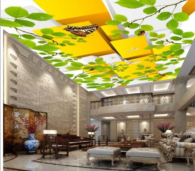Personnalisé Grand Vinyle Plafond Rouleau 3d Plafond Peinture Branche  Pigeons Plafond Murales Non Tissé 3d
