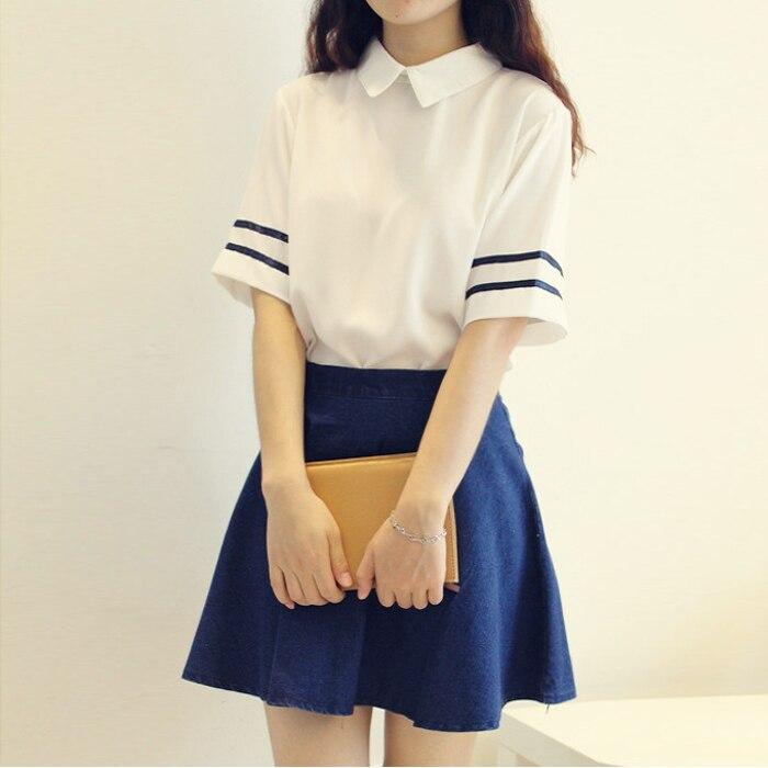 Beautiful Girl Navy Sailor Suit School Uniform Set White Shirt +Denim Blue Skirt