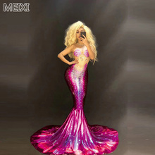 Polychrome mermaid princess pearl shell rhinestone dress birthday party nightclub bar concert DJ singer/dancer costume