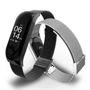 Image 2 - Metall Smart Armband Edelstahl Handgelenk Gurt für Xiaomi Mi Band 3 4 5 Strap Handgelenk Band Armband Armband für miBand 5 4 3 Z2