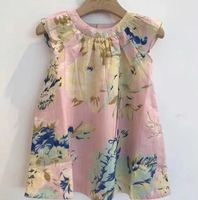 2019 Fashion Summer Girl Party Dress flower printed Princess Dress Pink Dress for Girl clothing Boutique Dresss