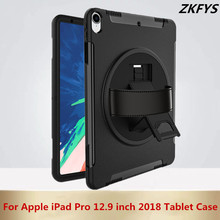 360 Degree Swivel Stand Shoulder Strap Full Protection Cover For Apple iPad Pro 12.9 inch 2018 Tablet Case Shockproof Armor