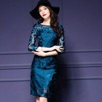 2018 ربيع المرأة ثوب جديد الموضة أوروبا الأمريكتين التطريز حزب اللباس زائد الحجم فاخرة خاصة الملابس بالجملة 9018